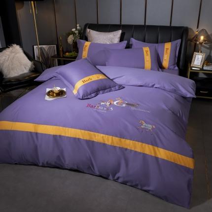 英镑 2020新款高密度全棉刺绣四件套 罗马-丁香紫