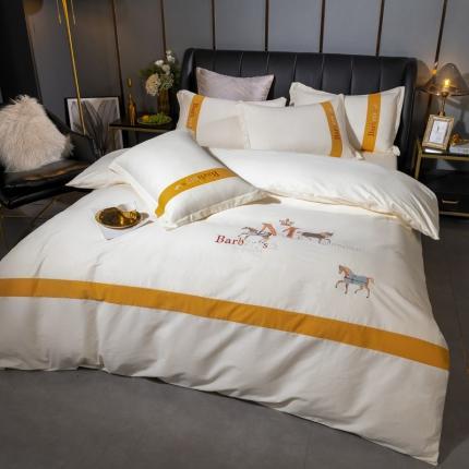英镑 2020新款高密度全棉刺绣四件套 罗马-珍珠白