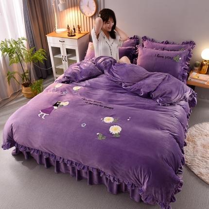 金莎浪2020少女心公主水晶绒法莱绒珊瑚绒四件套绣球花丁香紫