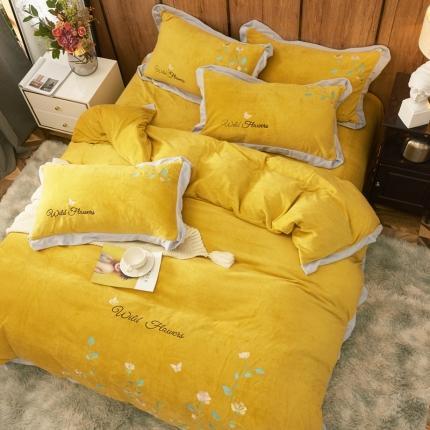 英镑家纺 2020新款韩版牛奶绒刺绣四件套 布达佩斯-明黄