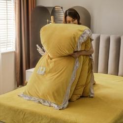 金貂绒法莱绒水晶绒牛奶绒被套毛毯+被子组合抗菌大豆四季秋冬被