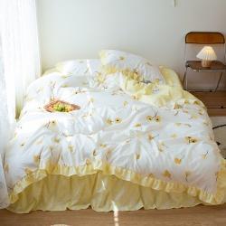 (总)花伞2021新款韩版荷叶边花边床裙床单款磨毛四件套