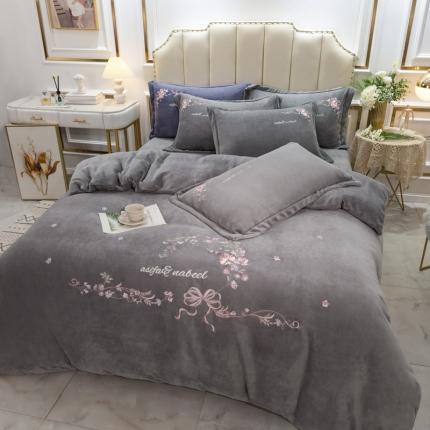 英镑2020新款保暖高克重牛奶绒刺绣宝宝绒四件套安娜-灰色