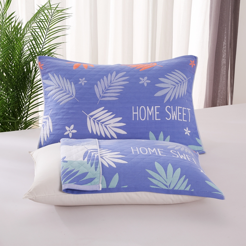 悠纱枕巾 新款三层纯棉色轴枕巾52x78一对 枫叶