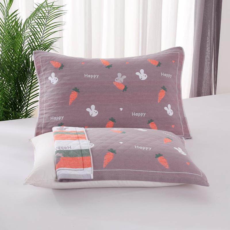 悠纱枕巾 新款三层纯棉色轴枕巾52x78一对 红萝卜兔
