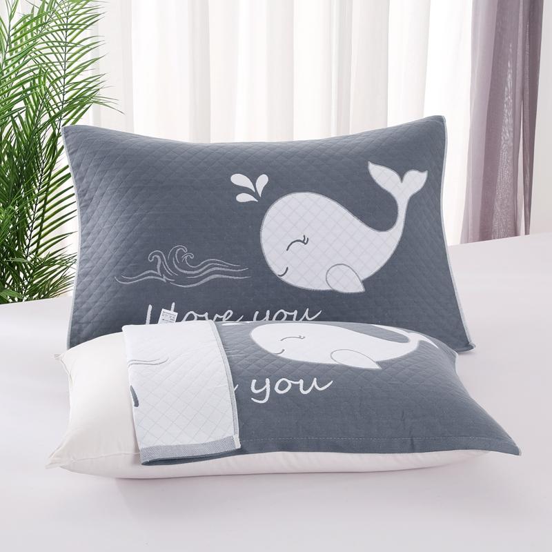 悠纱枕巾 新款三层纯棉色轴枕巾52x78一对 鲸鱼