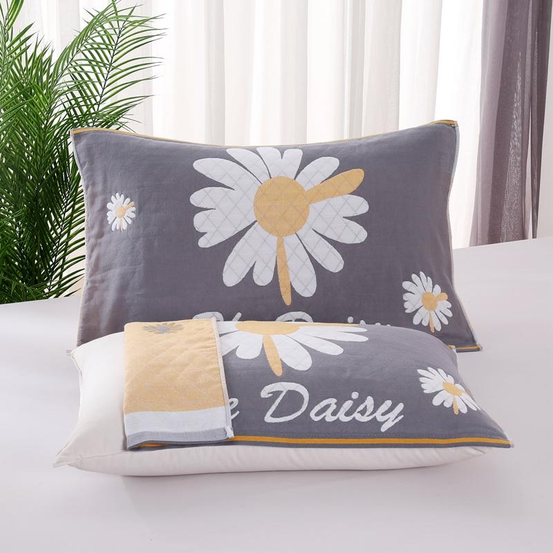 悠纱枕巾 新款三层纯棉色轴枕巾52x78一对 菊花