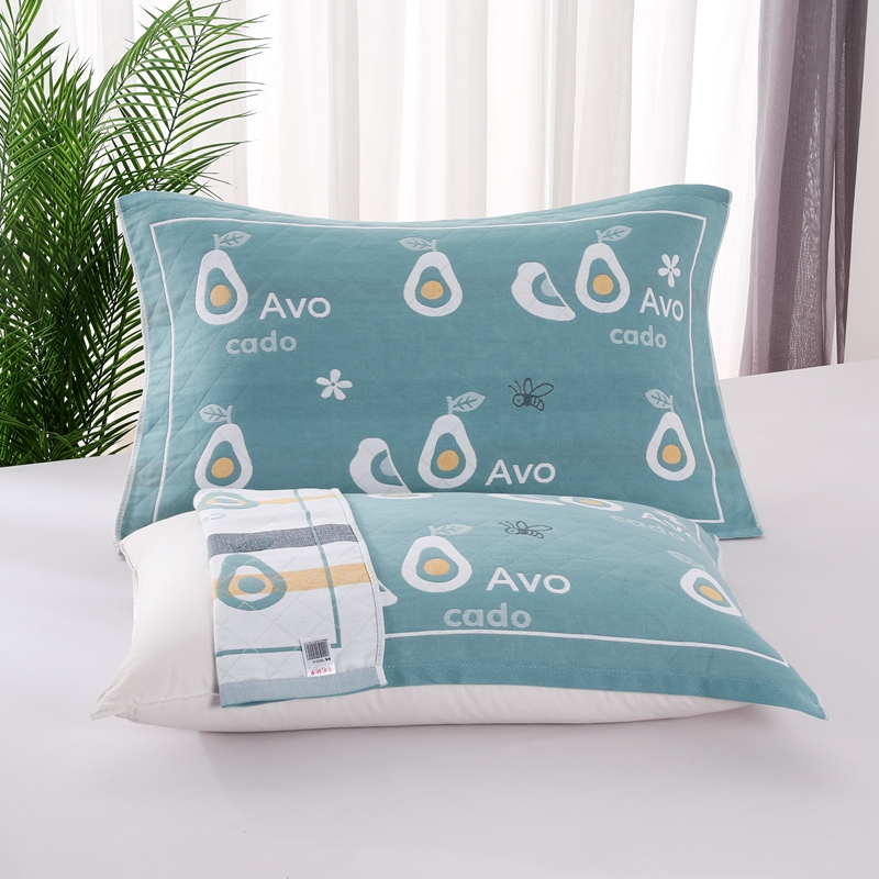 悠纱枕巾 新款三层纯棉色轴枕巾52x78一对 牛油果