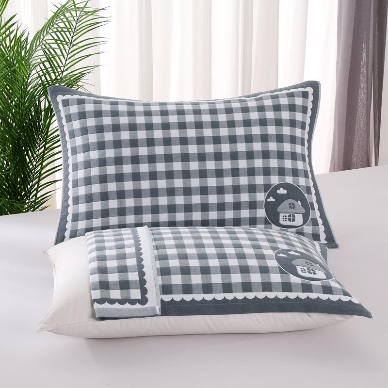 悠纱枕巾 新款三层纯棉色轴枕巾52x78一对 小房子