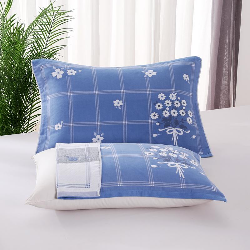 悠纱枕巾 新款三层纯棉色轴枕巾52x78一对 优雅