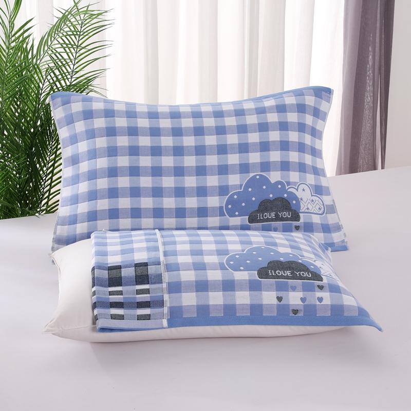 悠纱枕巾 新款三层纯棉色轴枕巾52x78一对 云朵