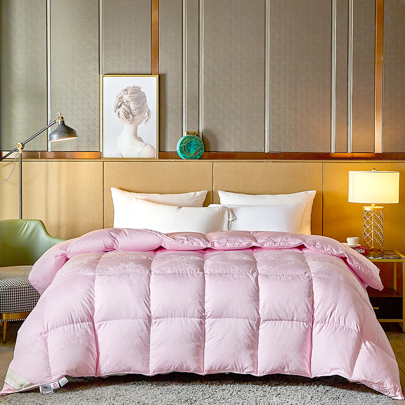 COCO HOUSE 2020新款80支全棉大提花鹅绒被 粉色