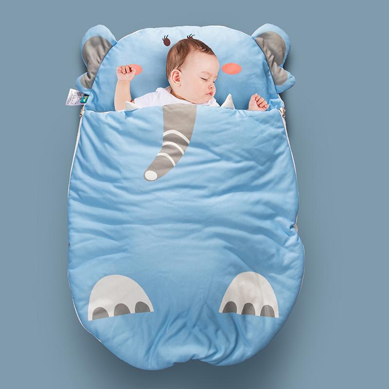 小芽家居 2020新款亲肤针织棉宝宝睡袋 蓝大象