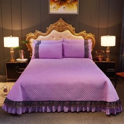 好眠好梦 2020新款水晶绒单品床盖小资情调系列 小资情调-紫色