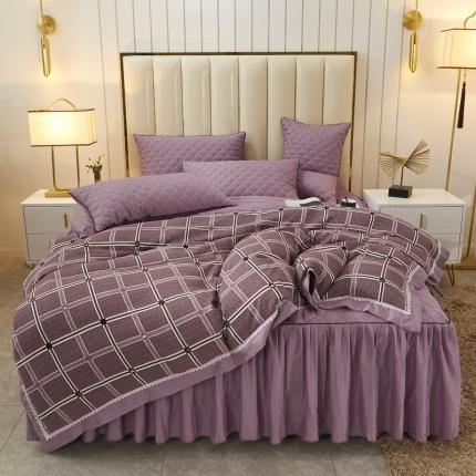 好眠好梦 2020新款抗菌阳绒棉四件套 素锦-优雅紫