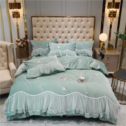 (总)好眠好梦 2020新款茜茜公主(真丝绒)床盖床裙四件套