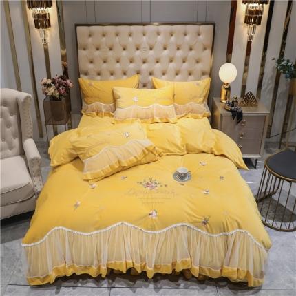 好眠好梦 2020新款茜茜公主(真丝绒)床盖床裙四件套 茜茜公主-姜黄