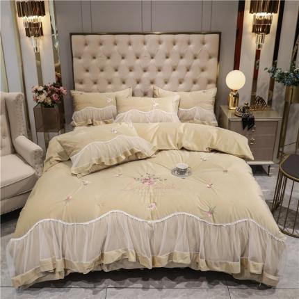好眠好梦 2020新款茜茜公主(真丝绒)床盖床裙四件套 茜茜公主-卡其
