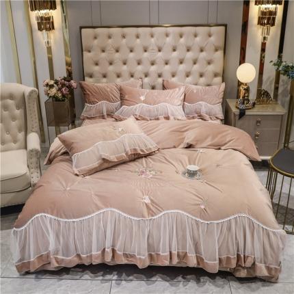 好眠好梦 2020新款茜茜公主(真丝绒)床盖床裙四件套 茜茜公主-浅咖