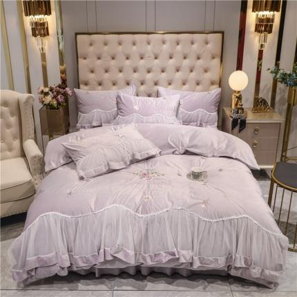 好眠好梦 2020新款茜茜公主(真丝绒)床盖床裙四件套 茜茜公主香芋紫