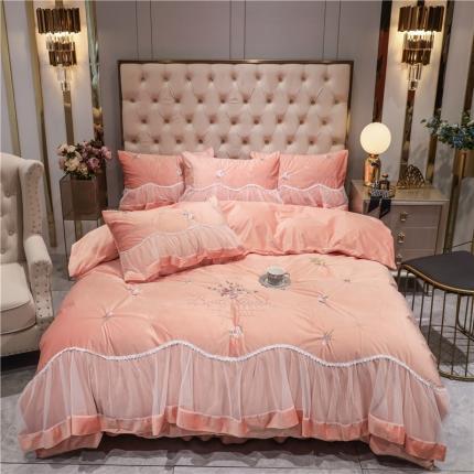 好眠好梦 2020新款茜茜公主(真丝绒)床盖床裙四件套 茜茜公主-胭脂粉