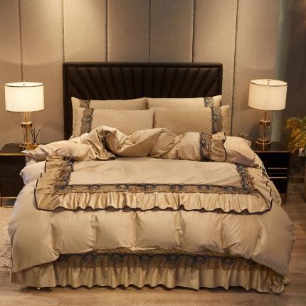 好眠好梦 2020新款小资情调水晶绒夹棉床盖四件套 小资情调-驼色