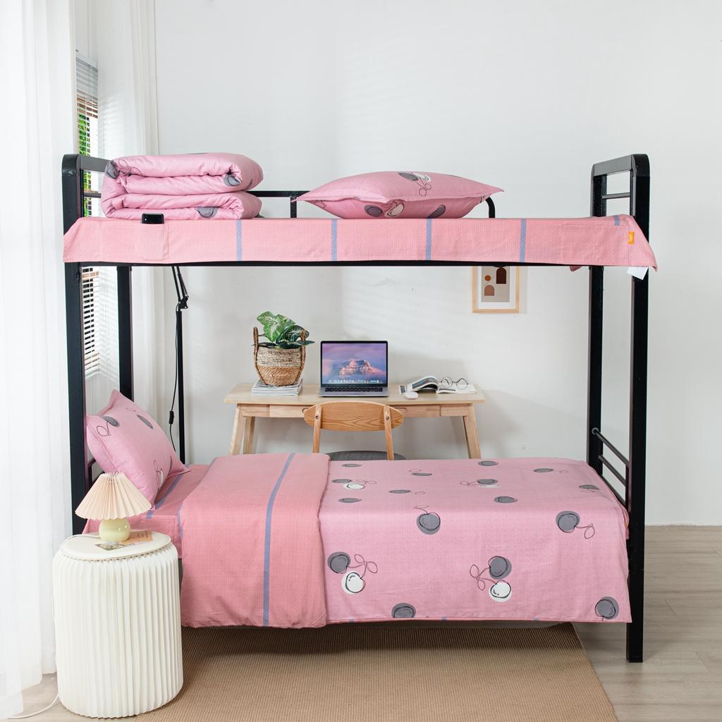 学生派 2020全棉学生宿舍磨毛上下铺床单床上用品三件套 可可甜心