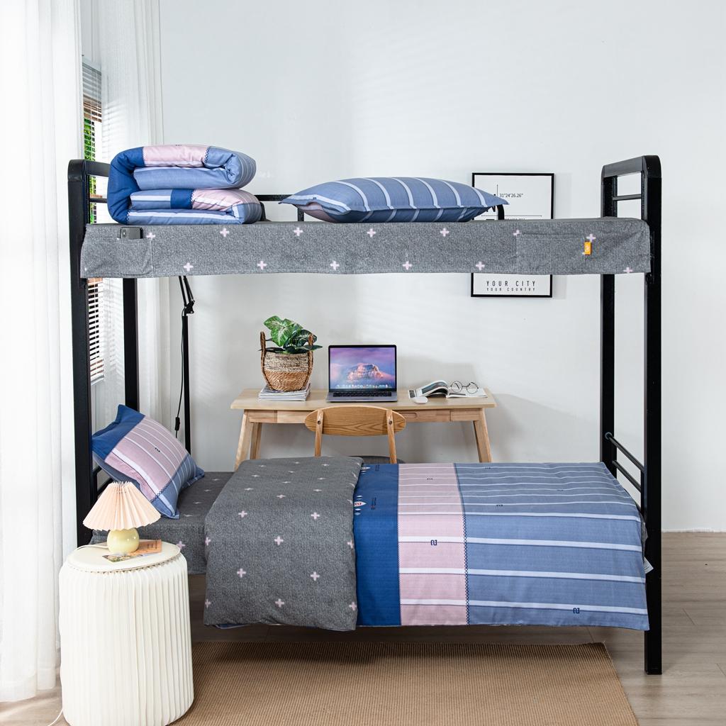 学生派 2020全棉学生宿舍磨毛上下铺床单床上用品三件套 时光之旅