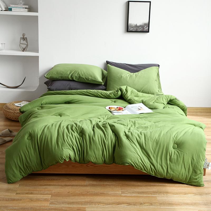 璞素家居 2020新款针织棉纯色春秋被冬被 果绿