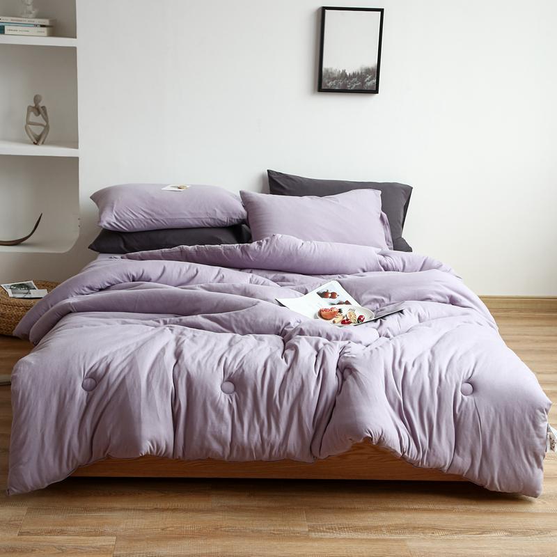 璞素家居 2020新款针织棉纯色春秋被冬被 浅紫