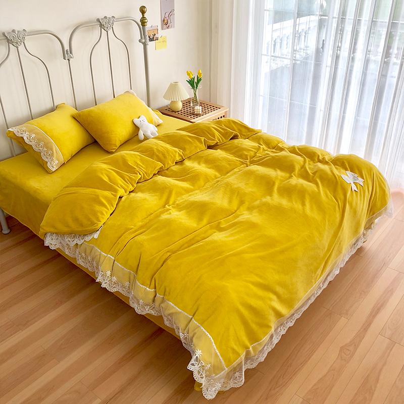 我宅家纺 2020新款蕾丝牛奶绒四件套 黄