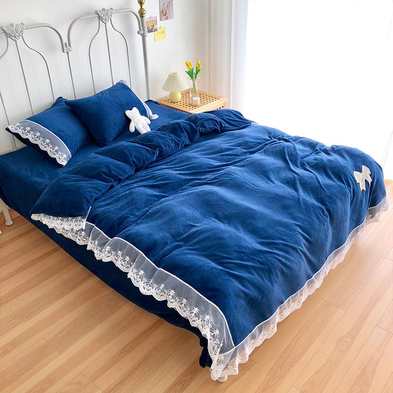 我宅家纺 2020新款蕾丝牛奶绒四件套 蓝