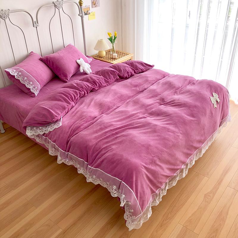 我宅家纺 2020新款蕾丝牛奶绒四件套 紫