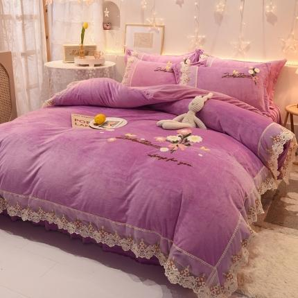九诺 新款直播水晶绒牛奶绒公主风绣花床裙四件套蝶舞花语梦幻紫