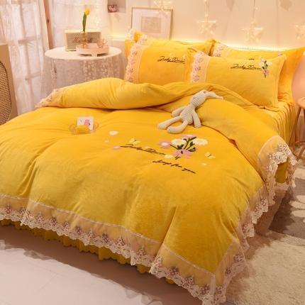 九诺新款直播水晶绒牛奶绒公主风绣花床裙四件套-蝶舞花语 暖黄