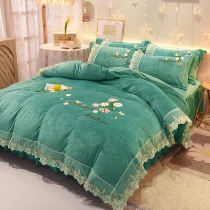 九诺新款直播水晶绒牛奶绒公主风绣花床裙四件套-蝶舞花语温馨绿
