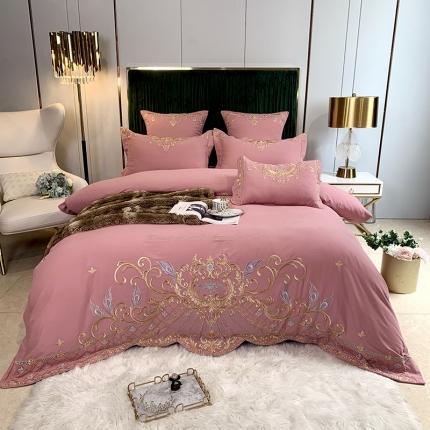 玉皇阁2020新款AB版纯棉磨毛四件套罗曼系列 粉色