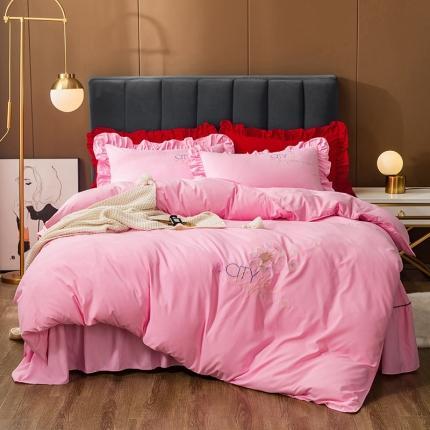 伊而梦 2020新款抗菌新疆棉刺绣床裙款四件套 蒲公英之约-粉红