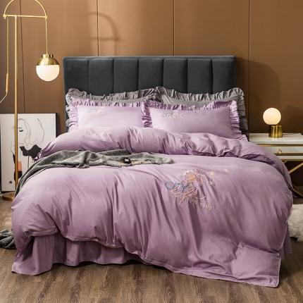 伊而梦 2020新款抗菌新疆棉刺绣床裙款四件套 蒲公英之约-浅紫