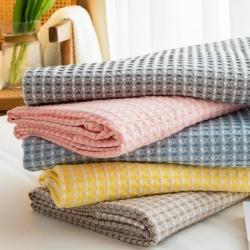 (总)针织棉舍 2021新款全棉包边5色华夫格毛毯盖毯