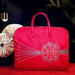 金牛包装婚庆被子包装袋大红色婚嫁陪嫁棉被收纳袋喜被打包带绣花