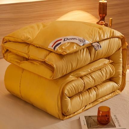 瑶瑶家居2021新款95%白鹅绒柔赛丝被羽绒被冬被被芯奥丁黄