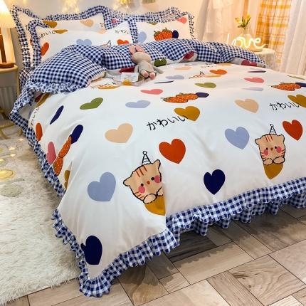 九诺家纺 2021爆款韩版磨毛小清新床裙床单四件套草莓心愿