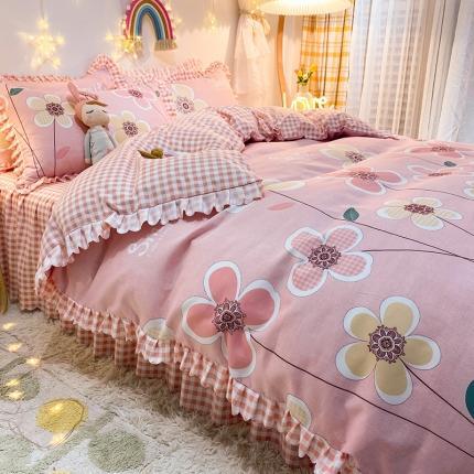 九诺家纺 2021爆款韩版磨毛小清新床裙床单四件套美梦成真
