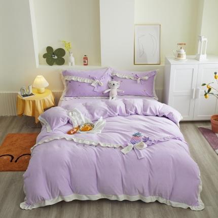 眠屿 2020新款牛奶绒绣花菠萝系列四件套 菠萝-紫