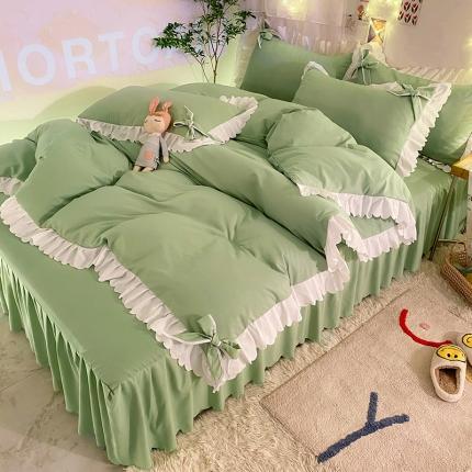 九诺新款加厚磨毛韩式蝴蝶结花边床单床裙四件套 公主的梦-墨绿