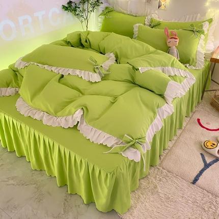 九诺新款加厚磨毛韩式蝴蝶结花边床单床裙四件套 公主的梦-嫩绿