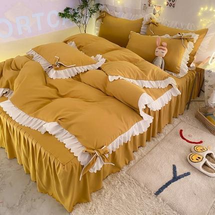 九诺新款加厚磨毛韩式蝴蝶结花边床单床裙四件套 公主的梦-暖黄