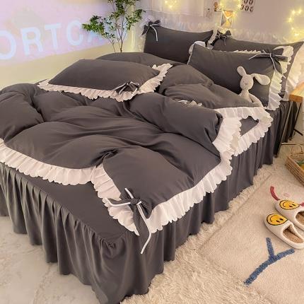 九诺新款加厚磨毛韩式蝴蝶结花边床单床裙四件套 公主的梦-深灰