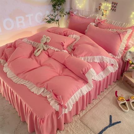 九诺新款加厚磨毛韩式蝴蝶结花边床单床裙四件套 公主的梦-玉色